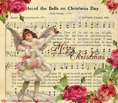 Shabby Christmas Digital Collage Pink Angel