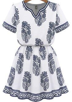 White V Neck Short Sleeve Floral Dress - Sheinside.com