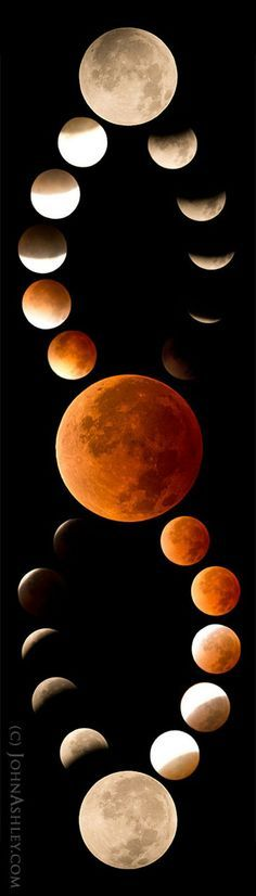 created this striking mosaic of the blood moon phases of the total lunar eclipse on April 15, 2014 from Kila in northwestern Montana