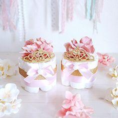 Love this! Pink & Gold Princess MINI Diaper Cake / Child Bathe Centerpieces decorations / Women Room Nursery Decor / New mother distinctive presents / Tiara Crown