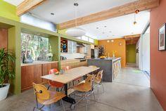 Contemporary House by Serrao Architecture + Design -- colorful kitchen !