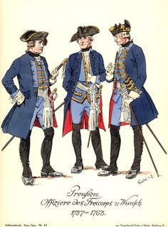 derpyredcoat: Prussiens: officiers Freinkorp von Wunsch, Guerre de Sept Ans, 1757-1763.