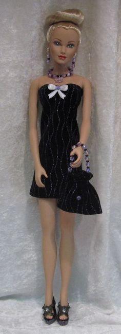 PARADISE GALLERIES Doll Clothes #06 Dress, Purse, Beaded Necklace & Earrings Set #HandmadebyESCHdesigns