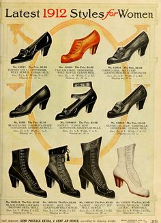 Latest 1912 Styles for Women - Shoes - Sears Catalog 1912.