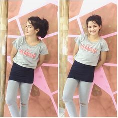 """Thank you so much @madclothingg for this pretty """"IM REALLY A MERMAID"""" top❤ And look at these stylish grey knee cut leggings from @pocketfriendlystore ❤ These clothes are so comfy!!!❤️ #fashion #promotions #clothes #fashionista #love #india #bestoftheday #insta #instadaily #instagram  FOLLOW THEIR ACCOUNTS!!!"""