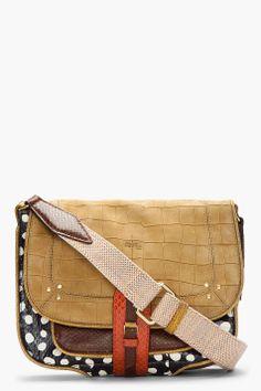 JEROME DREYFUSS Mustard Nubuck & Polka Dot Fredo Africa Shoulder Bag ___I am in love with this bag!