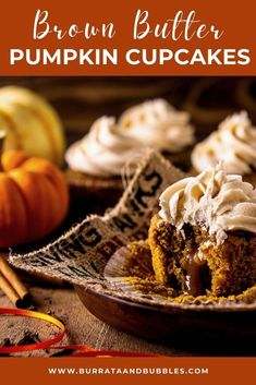 These are the absolute best pumpkin cupcakes! With a bourbon caramel filling and frosting, these brown butter pumpkin cupcakes are loaded with warm pumpkin spice, and you'll find this easy pumpkin cupcake recipe is a breeze to make. #brownbutterpumpkincupcakes #pumpkincupcakes #pumpkincupcakeswithcaramelfrosting #easypumpkincupcakes #pumpkincupcakesrecipes #pumpkincupcakeseasy #brownbuttercakerecipe #bourboncaramelcake #caramelfrosting #pumpkincupcakeswithfilling