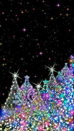 Purple Christmas Tree, Christmas Tree Images, Christmas Pictures, Christmas Art, Beautiful Christmas, Decorating With Christmas Lights, Christmas Tree Decorations, Christmas Trees, Merry Christmas Wallpaper