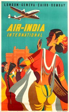 Travel Poster Air India International Lockheed Super Constellation