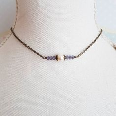 Ivory Swarovski pearl choker with purple crystals#handmade #jewelry #chokers #choker #pearl #purple #necklace #etsyshop #etsy #crafts #giftideas #forher #weddings #bride #rustic #bridesmaids #wedding #bridal #minimalistjewelry