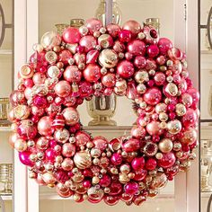 49 Pretty Christmas Wreaths to DIY Now Pink Ornament Wreath Pink Christmas, Winter Christmas, Christmas Home, Vintage Christmas, Christmas Crafts, Apartment Christmas, Christmas Mantles, Magical Christmas, Miniature Christmas