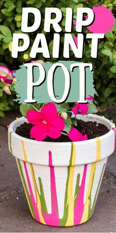 Expert tips and instruction on how to make beautiful drip paint pots. Drip painting is fun for adults and crafts and they make great 9and useful) gifts! #paint #claypots #drippaint #kidscrafts #gardening #gardencrafts #gardeningwithkids #drippainting #craftsbyamanda