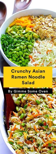 Crunchy Asian Ramen Noodle Salad (A. Basically The Best Potluck Salad Ever) ~ This delicious Crunchy Asian Ramen Noodle Salad recipe is tossed with a simple sesame vinaigrette…and tastes absolutely delicious! ** CLICK PIN TO LEARN MORE! Summer Salad Recipes, Healthy Salad Recipes, Healthy Summer Dinner Recipes, Easy Summer Salads, Summer Food, Dinner Salad Recipes, Summer Dinner Ideas, Summer Lunches, Dinner Salads Healthy