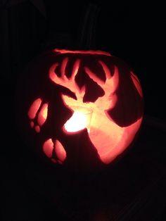 DIY deer silhouette pumpkin carving