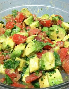 Avacado Tomato Salad..4 c. Avacado, 2 c. Grape tomato, 2c diced cucumber, 1c diced red onion, 4T. Fresh cilantro, 2t. Minced garlic, 2T. Lime juice, 1/4c. Olive oil, salt, pepper. Toss together. YUM!