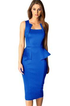3b1e809cea Fashionable Sleeveless Midi Dress In Blue LAVELIQ SALE Bride Dresses, Sexy  Dresses, Peplum Dresses
