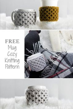 FREE Coffee Mug cozy Knitting Pattern. Knit the perfect stocking stuffer for the coffee lover in your life! #bromefields #freeknittingpattern #honeycombknitstitch #coffeemugcozy #coffeemugsleeve Designer Knitting Patterns, Knitting Patterns Free, Knit Patterns, Free Knitting, Coffee Cozy Pattern, Crochet Mug Cozy, Knitting Projects, Crochet Projects, Knitting Ideas