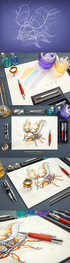 Lignes blanche et esthetique de dessin technique