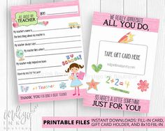 """This Teacher Appreciation Printable Download Set from Indigo Ink Boutique is great for Teacher Appreciation Week, the end of the school year, or anytime you want to tell a teacher thank you! Perfect as teacher gifts, this instant download All About my Teacher Questionnaire will be fun for kids to fill out. With this one digital download you get the 5""""x 7"""" fill-in-the-blank cards; the 5""""x 7"""" printable gift card holder and even an 8.5"""" x 11"""" (or trim to 8"""" x 10"""") version of the…"""