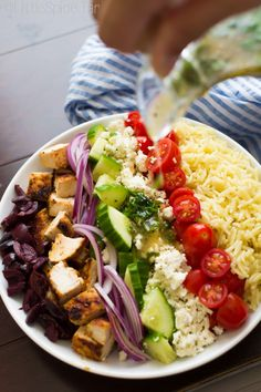 Switch out the orzo for mixed greens and this makes a KILLER greek salad.  I also don't like mustard so I subbed that for red wine vinegar in the dressing - I've eaten this 6 times since I found the recipe last week - YUM!