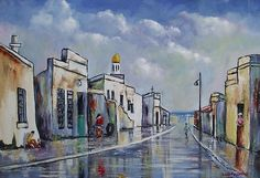 Chippini Street - Louis Pretorius art South African Artists, Love Painting, Lovers Art, Cottages, Countryside, Oil On Canvas, Coastal, Vibrant, Landscape