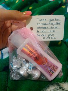 Baby Shower Party Favors For Girls Materials I Used: Baggies Lotion(from  Dollar Tree) Kisses Chocolates Little Thank You Card With A Cute Message.