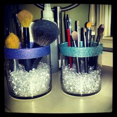 So much fun to make these makeup brush holders #diy #glitter #paint #makeup