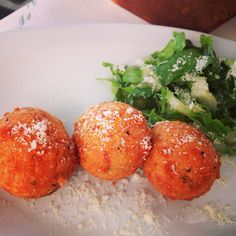 Cheese balls with graviera, at Akrogiali Taverna, Naxos island, Greece