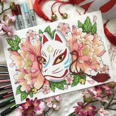 Kokoro Kitsune - Prints sold by NEKO MARION. Anime Drawings Sketches, Kpop Drawings, Art Drawings, Hanya Tattoo, Guache, Marker Art, Kawaii Art, Japan Art, Street Art Graffiti