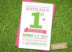 PRINTABLE 1st Birthday Invitation - Garden Party Birthday Invitation - Girls Birthday Party 6x4 or 5x7 on Etsy, $15.29