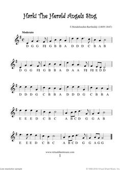 Very Easy Christmas Alto Saxophone Sheet Music Songs [PDF] - Hark The Herald Angels Sing