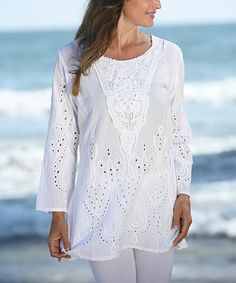 Another great find on #zulily! White Embroidered Eyelet Tunic #zulilyfinds
