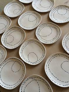 Plates by Lari Washburn ceramic shape rim surface Pottery Painting, Ceramic Painting, Ceramic Clay, Ceramic Plates, Pottery Plates, Ceramic Pottery, Keramik Design, Sharpie Art, Plate Design
