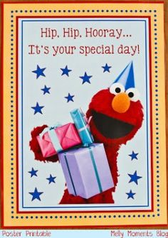 """My son just recently turned two and has been all about Elmo and Sesame Street (not to mention Thomas the Train! To combine these two """"loves"""" of his, I decided to have a party theme of """"All Aboard… First Birthday Party Themes, Elmo Birthday, Toy Story Birthday, Birthday Ideas, Sesame Street Party, Sesame Street Birthday, Fraggle Rock, Elmo Party, Sofia Party"""