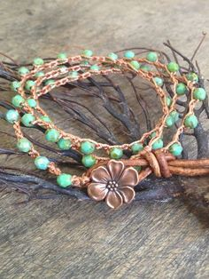"""Turquoise Crochet & Leather Multi Wrap with Copper Flower """"Boho Chic"""""""