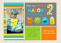 Little Monster Birthday Party Chevron Invitation- Printable on ...