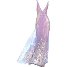 Badgley Mischka - edited by mlleemilee found on Polyvore featuring women's fashion, dresses, gowns, long dresses, purple, badgley mischka dresses, badgley mischka, purple dress and purple gown