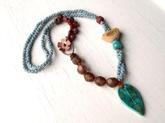 Spring Morn - leaf necklace, beaded necklace, bird necklace, unique necklace, bird jewellery, turquoise necklace, aqua necklace, sur Etsy, $105.69 CAD