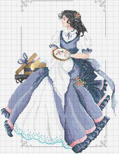 0 point de croix fille vintage brodant - cross stitch vintage girl stitching