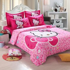 Unihome Home textiles Children Cartoon Hello kitty kids bedding set, include duvet cover bed sheet pillowcase #Affiliate