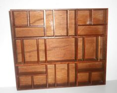 "Vintage Wooden Miniature Wall Shelf Curio Knick Knack Display 18""x16"""