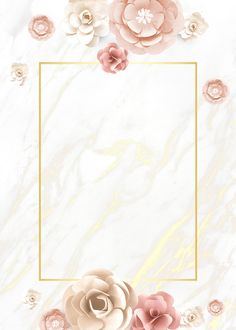 Paper craft flower element card template vector premium image by Flower Background Wallpaper, Framed Wallpaper, Flower Backgrounds, Background Patterns, Wallpaper Backgrounds, Iphone Wallpaper, Frame Background, Backgrounds Marble, Wedding Invitation Background