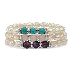 "Palm Beach Jewelry PalmBeach Cultured Freshwater Pearl and Gemstone Accent Three-Piece Stretch Bracelet Set in Silvertone 8"" Naturalist"