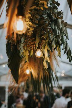 hanging foliage installation with lights botanicalhanging hanginglights 435864070186317771 Autumn Wedding, Boho Wedding, Wedding Flowers, Dream Wedding, Boho Flowers, Garden Wedding, Sydney, Sheath Wedding Gown, Church Wedding Decorations