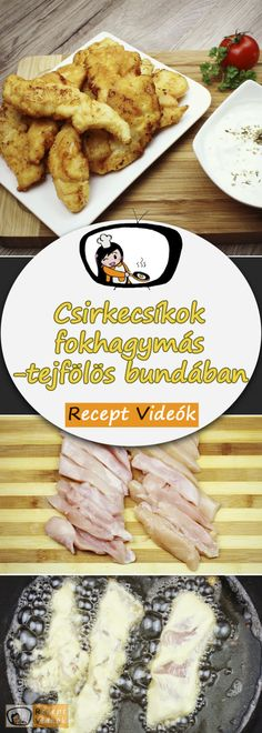 Chicken strips in garlic-sour cream batter recipe with video. Detailed steps on how to prepare this easy and simple recipe! How To Cook Squash, How To Cook Kale, Cooking Panda, Cooking Turkey, Cooking Kale, Sloppy Joe, Chicken Strip Recipes, Chicken Strips, Meat Recipes