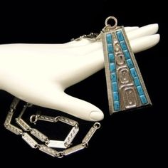 WHITING DAVIS Vintage Necklace Faux Turquoise Egyptian Pendant Silver Plated #WhitingDavis #Pendant
