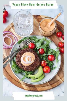Vegan Mexican Burger - delicious southwest flavors in a hearty veggie burger. Easy to make, gluten free, and plenty of protein! Eat it on a bun or with a fork and top it off with all your favorite garnishes! Makes a delicious dinner or easy lunch! #vegan #burger #veggieburger #plantbased #dinner #glutenfree Meatless Burgers, Quinoa Burgers, Vegan Burgers, Burger Recipes, Vegan Recipes, Lunch Recipes, Easy Recipes, Mexican Burger, Black Bean Quinoa Burger
