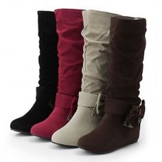 Lovely Round Toe Increasing Height Bowknot Decorated Mid-Calf Length Women Leisure Boots