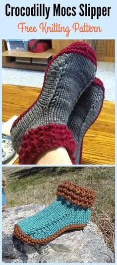 Crocodilly Mocs Slipper Free Knitting Pattern – Crochet and Knitting Patterns Loom Knitting, Knitting Stitches, Knitting Socks, Free Knitting, Baby Knitting, Knitting Patterns, Stitch Patterns, Knitting Machine, Loom Patterns