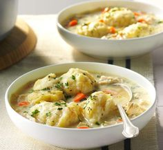 Chicken and dumplings harken back to my childhood and chilly days when we devoured those cute little... - Photo: Taste of Home